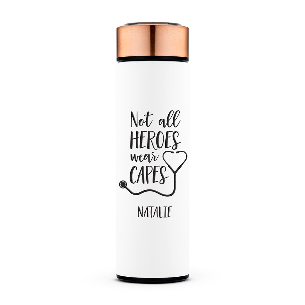 Personalized Stainless Steel Cylinder Travel Bottle - Not All Heroes Wear Capes