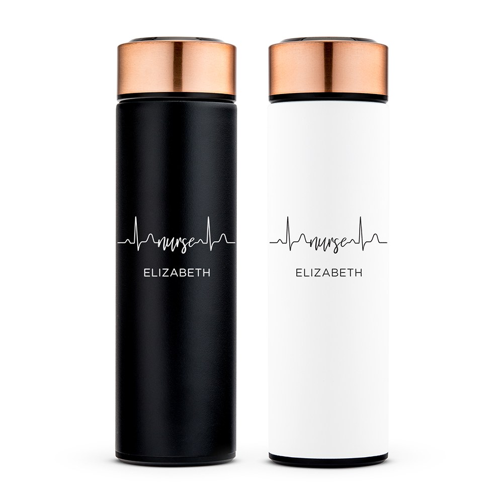 Personalized Stainless Steel Cylinder Travel Bottle - Nurse Heartbeat