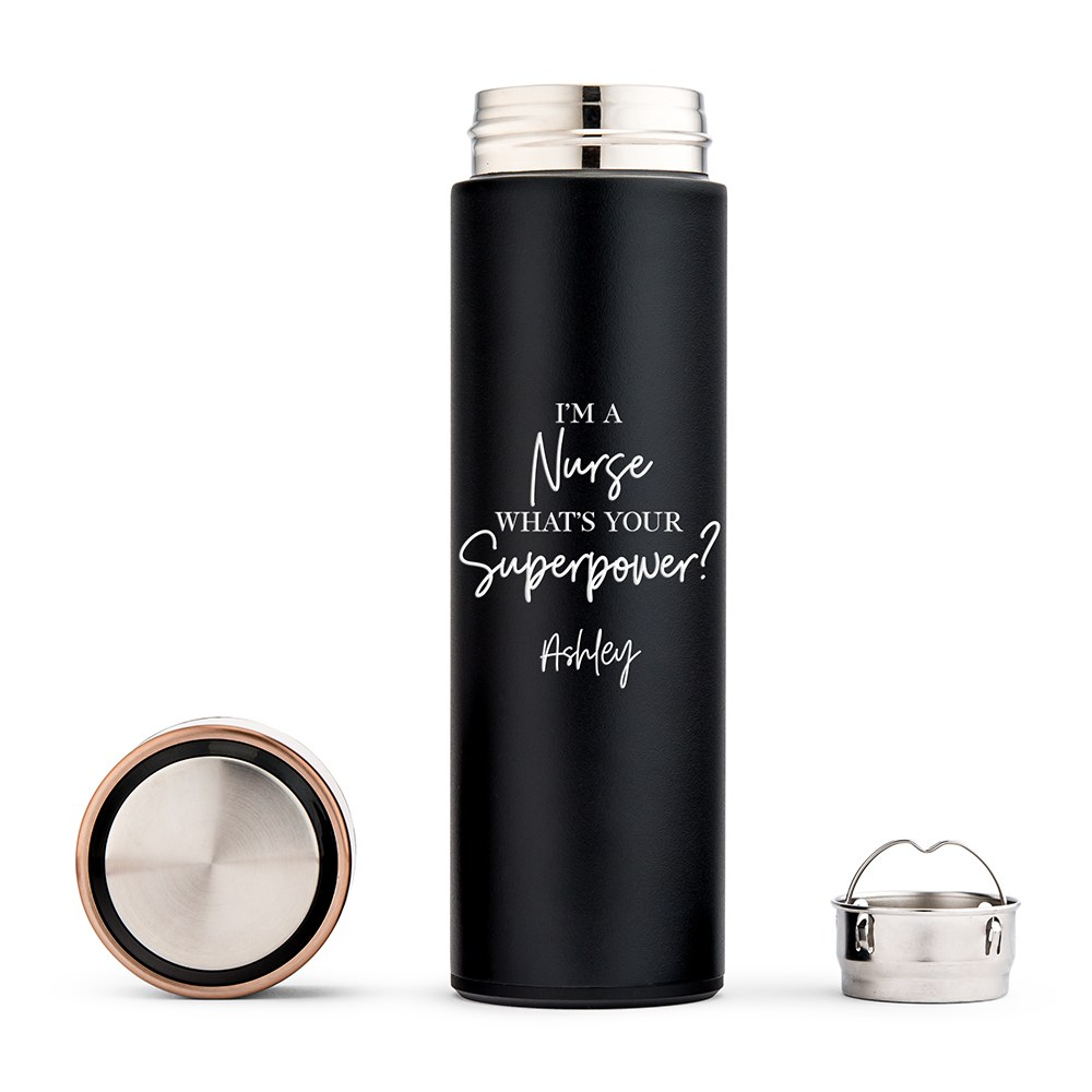 Personalized Stainless Steel Cylinder Travel Bottle - What's Your Superpower