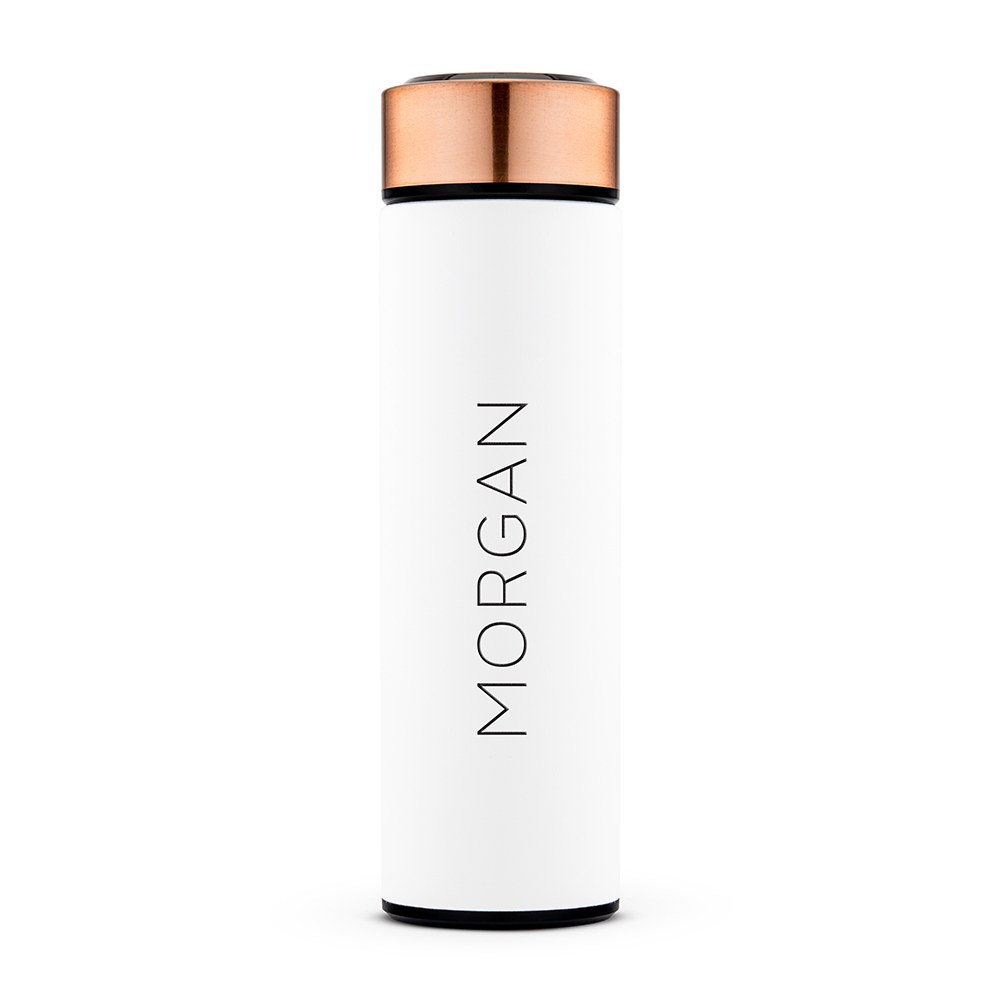 Personalized Stainless Steel Cylinder Travel Bottle - Contemporary Vertical
