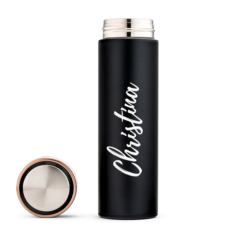 Personalized Stainless Steel Cylinder Travel Bottle - Calligraphy