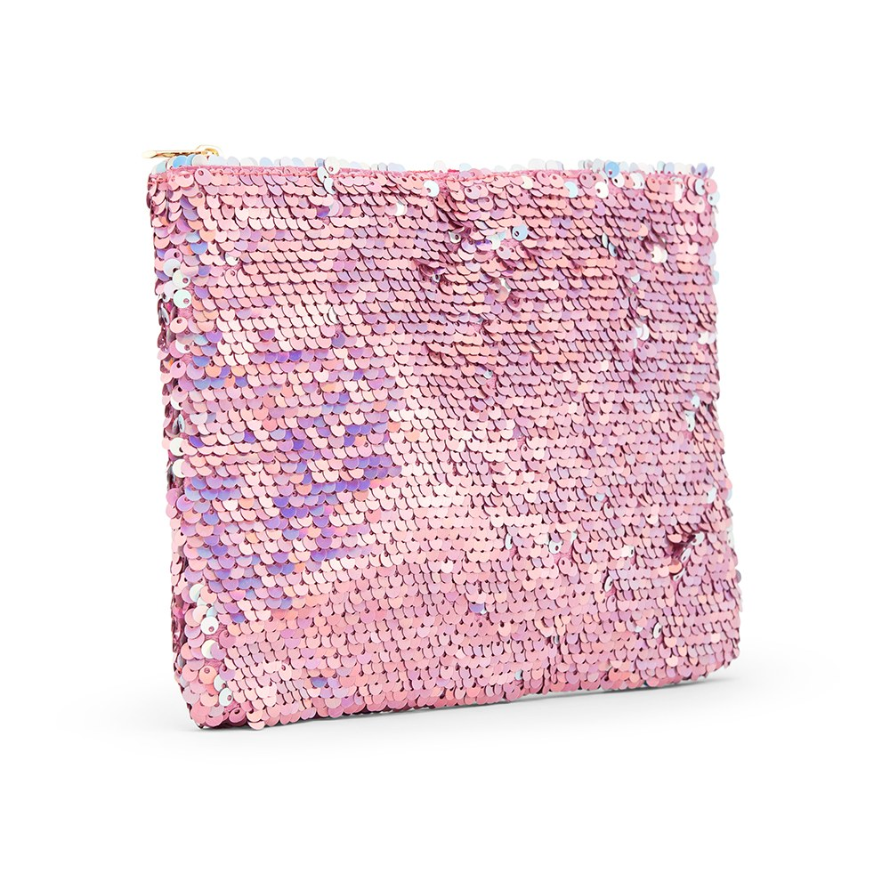 Women's Mermaid Sequin Makeup Bag - Pink
