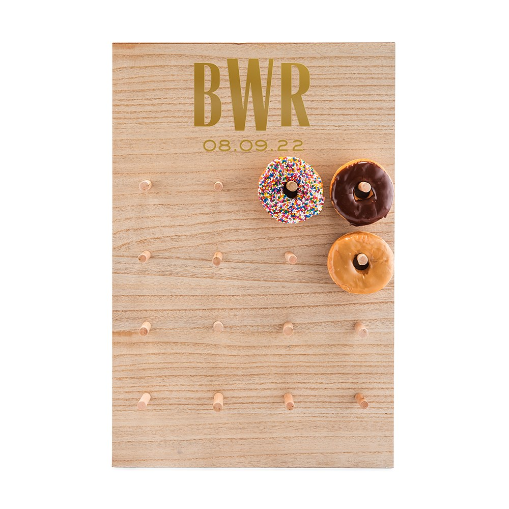 Personalized Wooden Donut Wall Display - Sans Serif Monogram