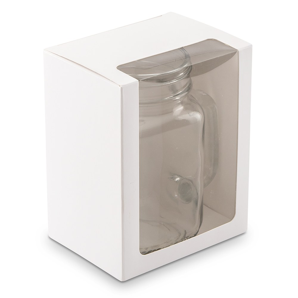 16 oz Mason Jar Drinking Glass Gift Box with Clear Window - White
