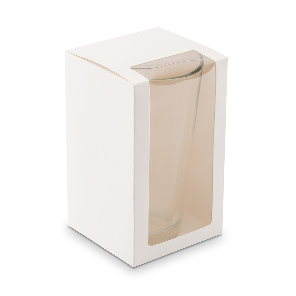 Pint Glass Gift Box with Clear Window - White