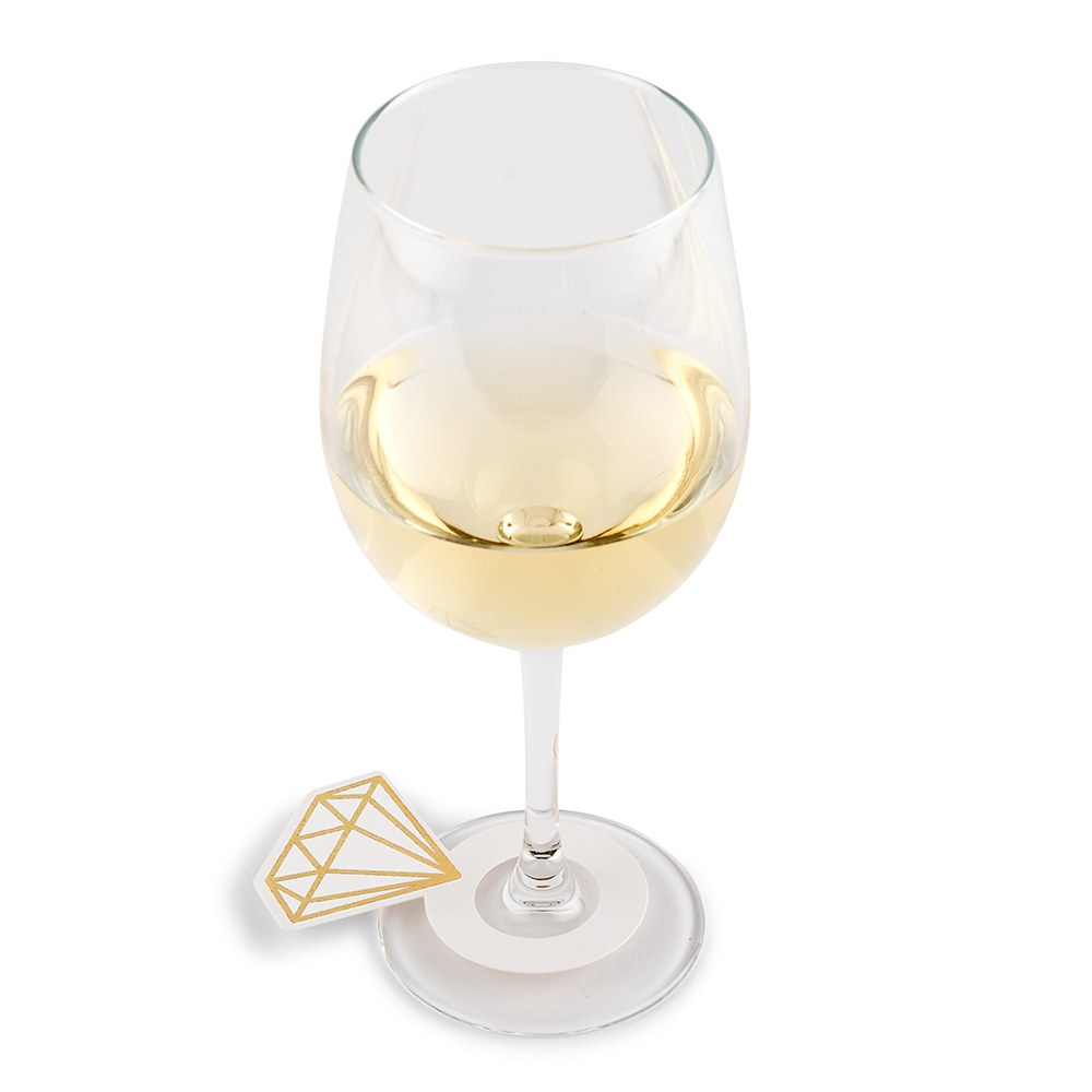 Paper Wine Glass Name Tags - Diamond Ring - Set of 12