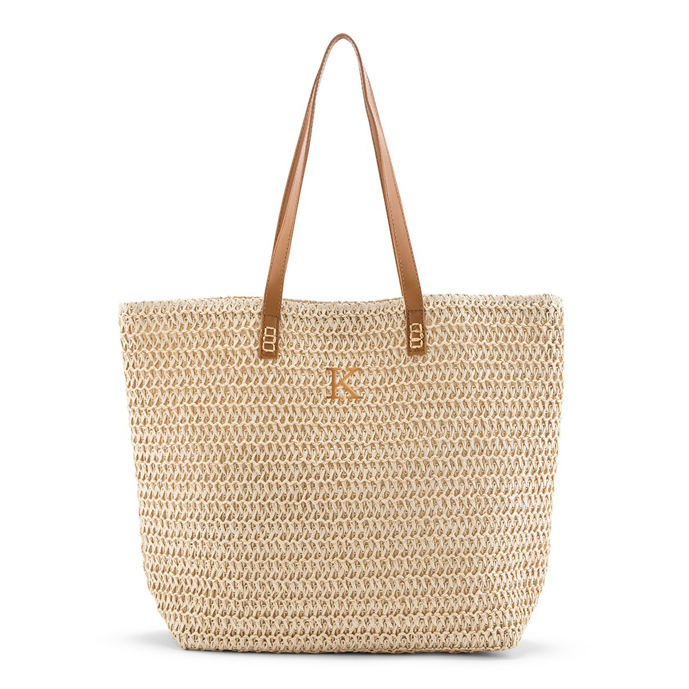 Personalized Extra-Large Woven Straw Tote Bag - Natural