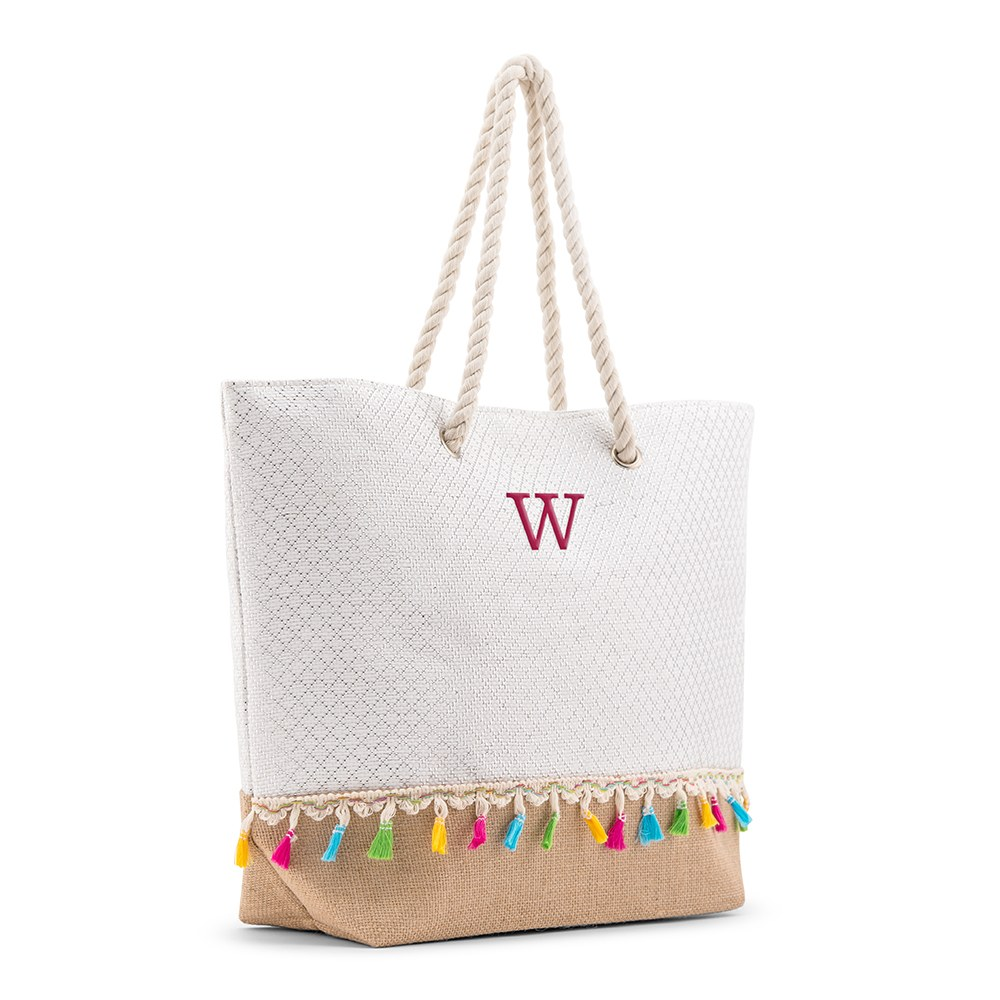 Personalized Extra-Large Woven Straw Tote Bag - Color Fringe