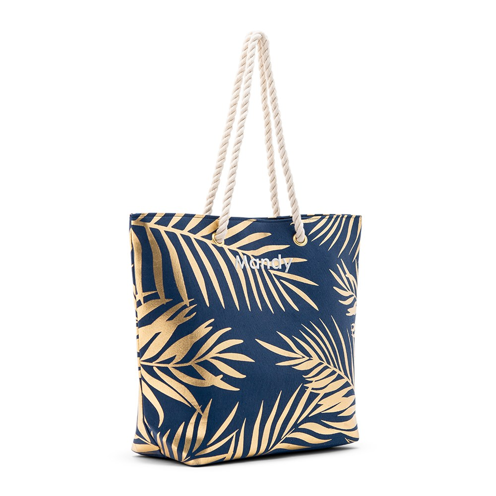 Personalized Extra-Large Cotton Canvas Fabric Beach Tote Bag - Navy Blue Palm Leaf