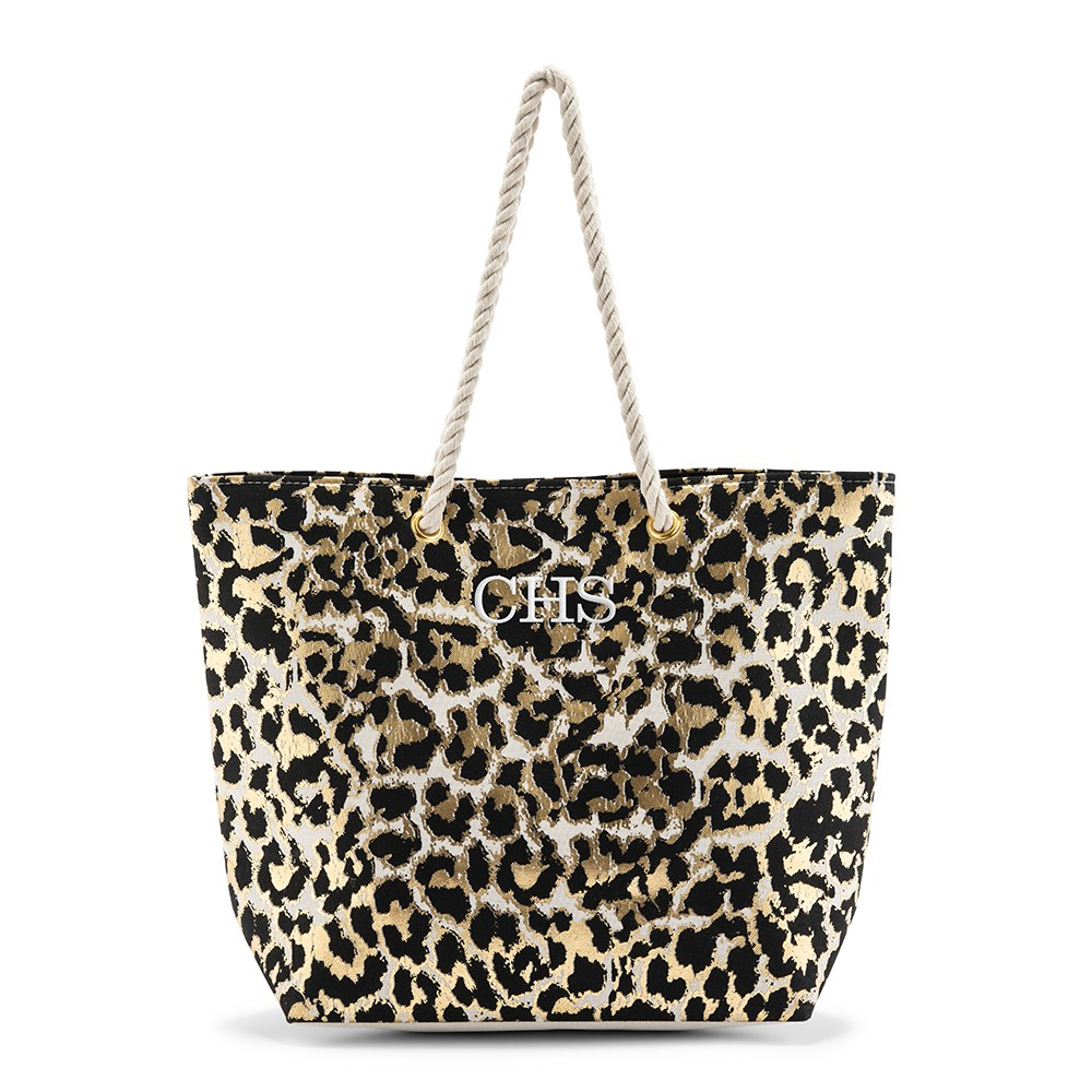 Personalized Extra-Large Cotton Canvas Fabric Beach Tote Bag - Leopard Print