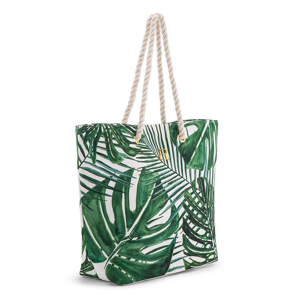 Personalized Extra-Large Cotton Canvas Fabric Beach Tote Bag - Green Palm Leaf