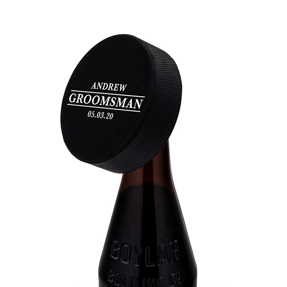 Custom Hockey Puck Bottle Opener Gift - Groomsman