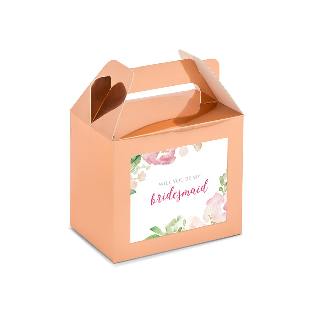 Personalized Rose Gold Rectangle Paper Favor Box with Handle - Floral Garden Party