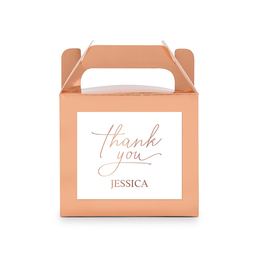 Personalized Rose Gold Rectangle Paper Favor Box with Handle - Thank You