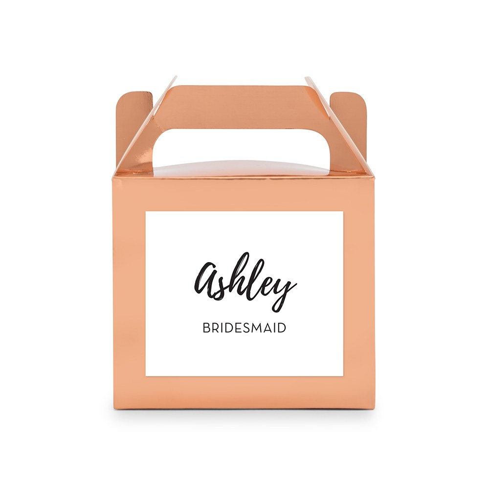 Personalized Rose Gold Rectangle Paper Favor Box with Handle - Calligraphy