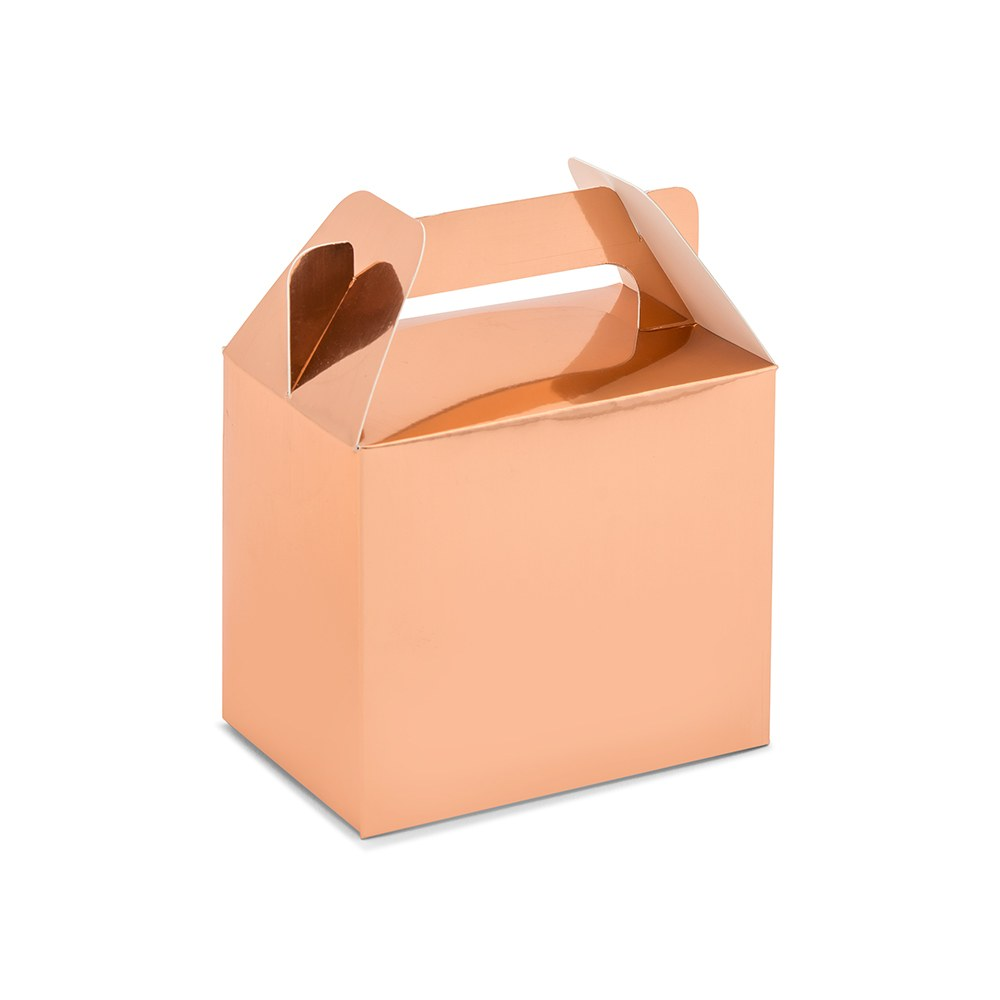 Rose Gold Rectangle Paper Favor Box with Handle