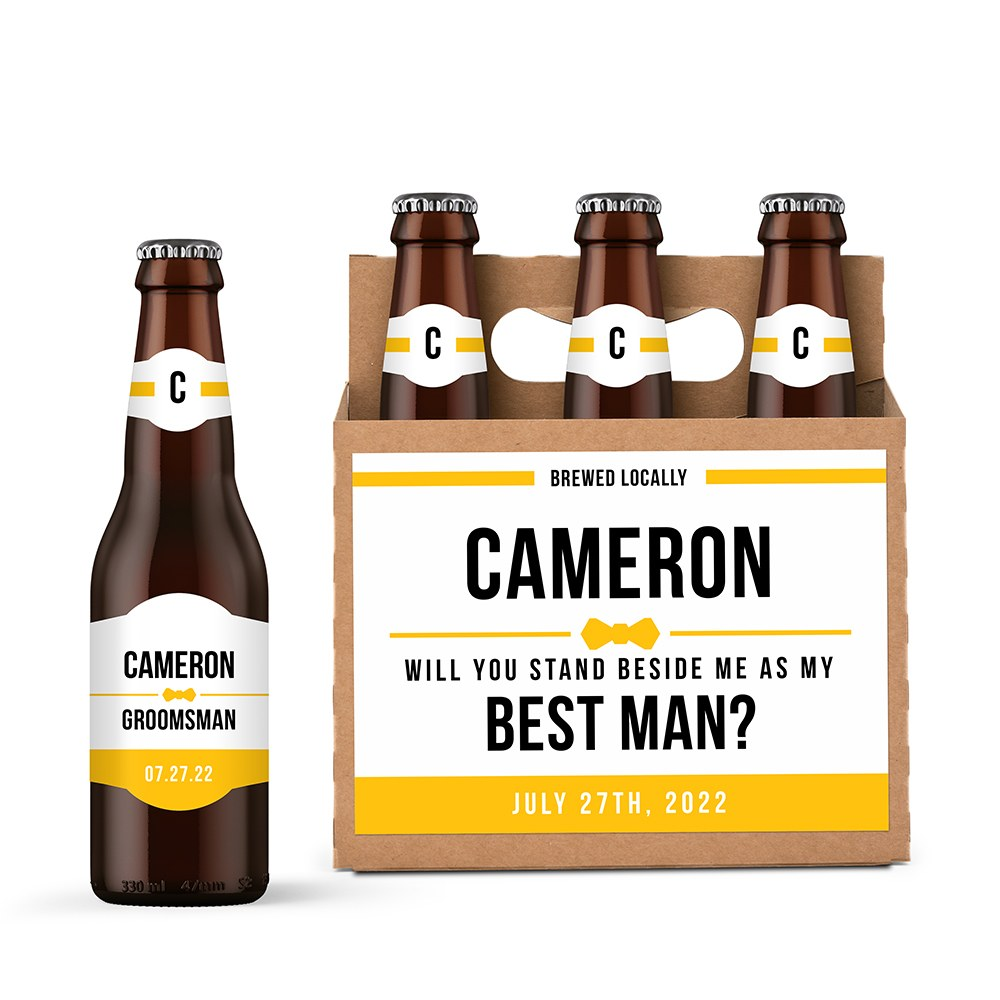 Personalized Kraft Cardboard Six Pack Beer Bottle Caddy - Suit Up