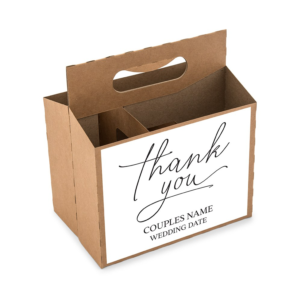 Personalized Kraft Cardboard Snack Caddy - Thank You