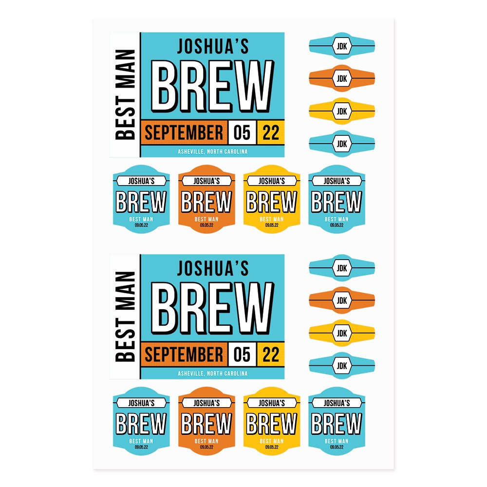 Personalized Kraft Cardboard Six Pack Beer Bottle Caddy - Color Block