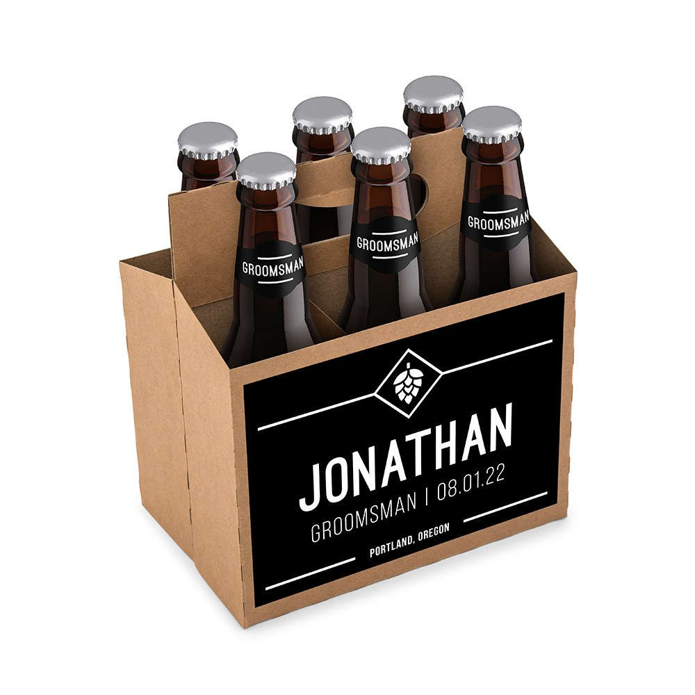 Personalized Kraft Cardboard Six Pack Beer Bottle Caddy - Hopped Up