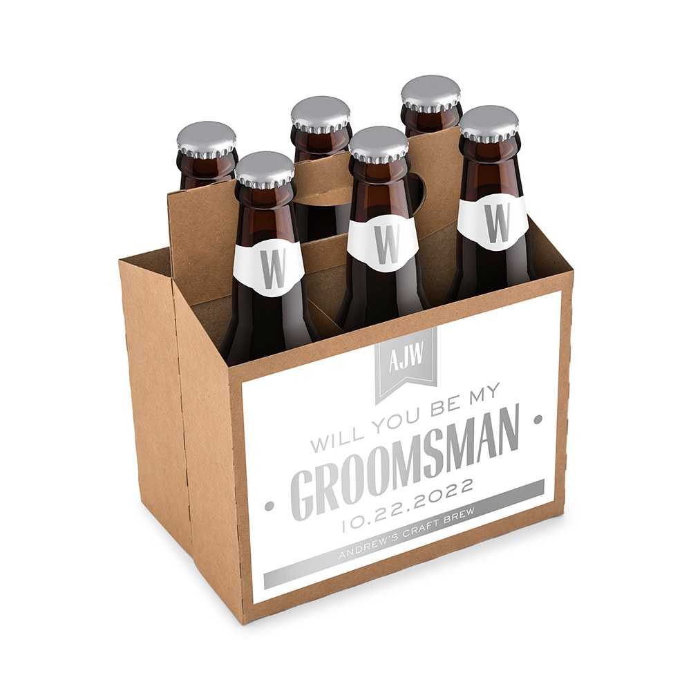 Personalized Kraft Cardboard Six Pack Beer Bottle Caddy - Drafted