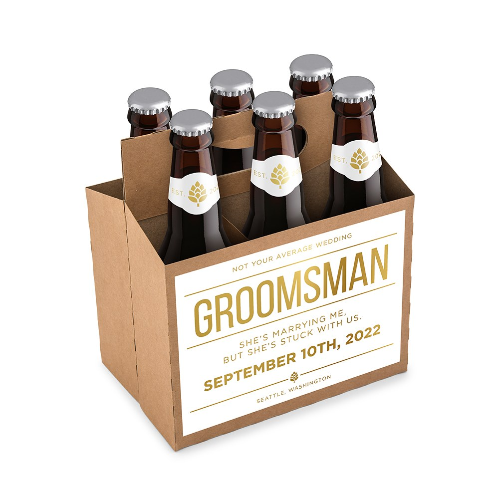 Personalized Kraft Cardboard Six Pack Beer Bottle Caddy - Feeling Crafty