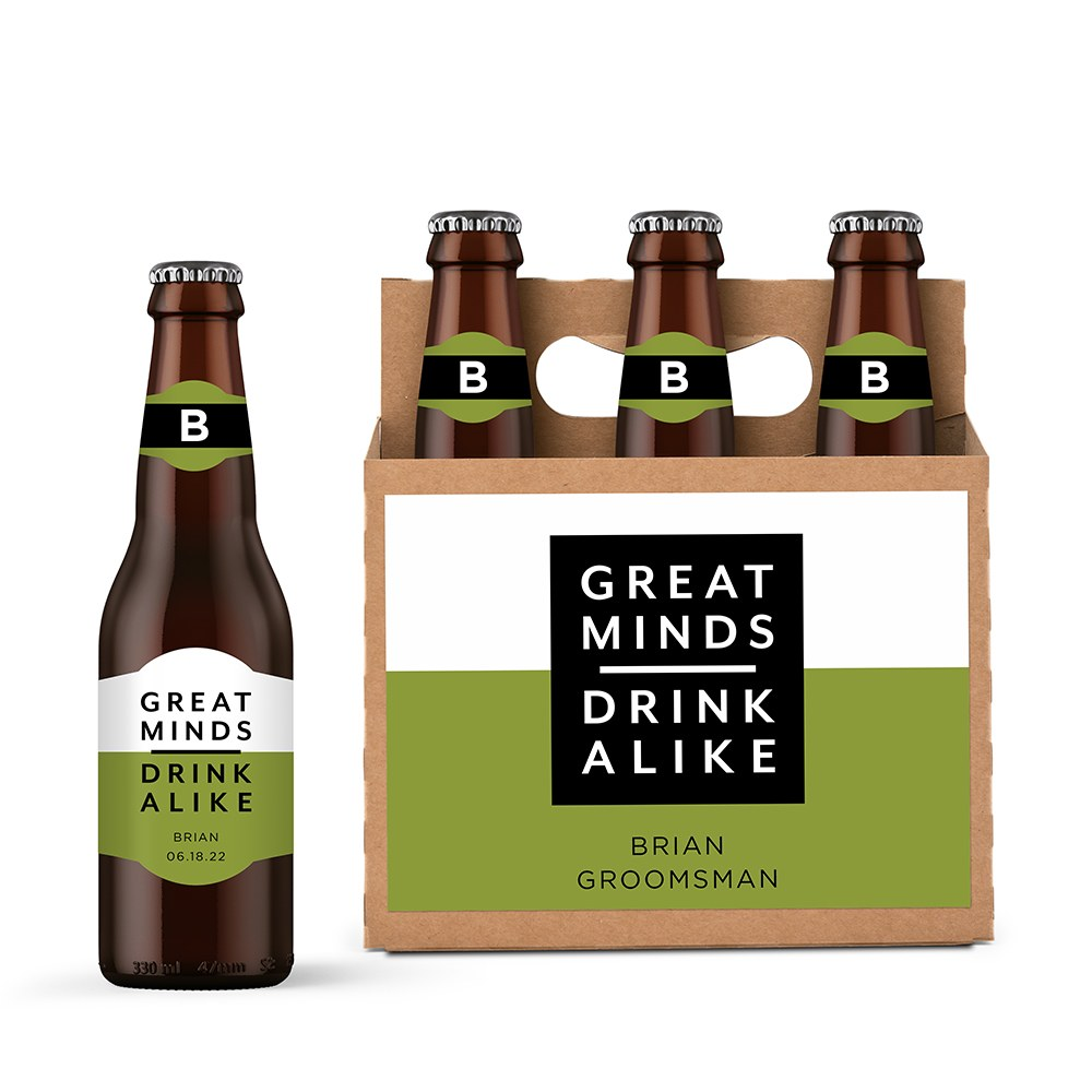 Personalized Kraft Cardboard Six Pack Beer Bottle Caddy - Great Minds Drink Alike