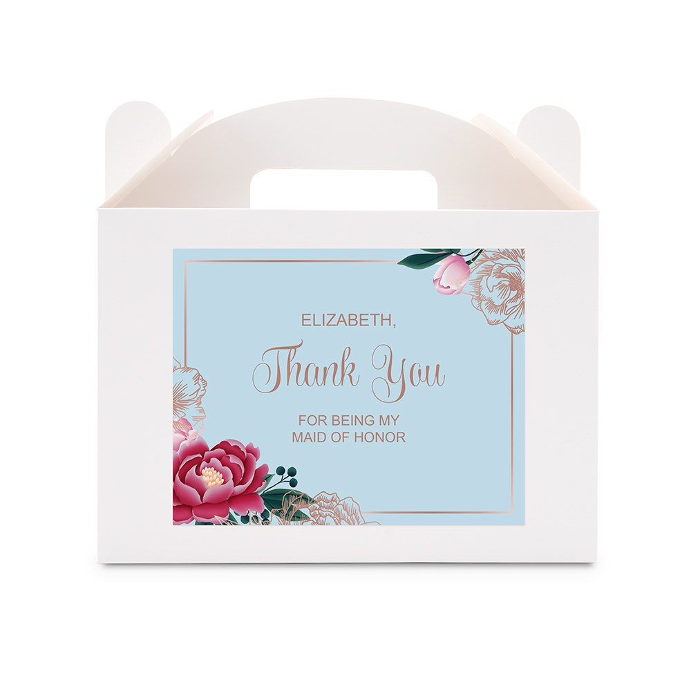Personalized Gift Rectangle Paper Favor Box with Handle - Modern Floral