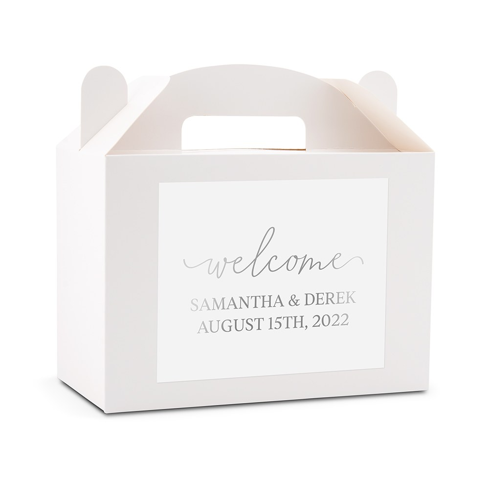 Personalized White Rectangle Paper Gift Box with Handle - Welcome Script