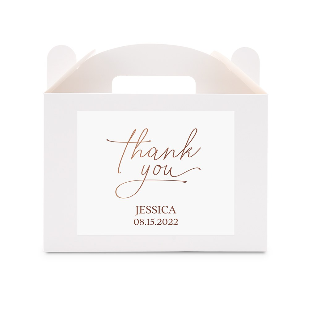 Personalized White Rectangle Paper Gift Box with Handle - Thank You