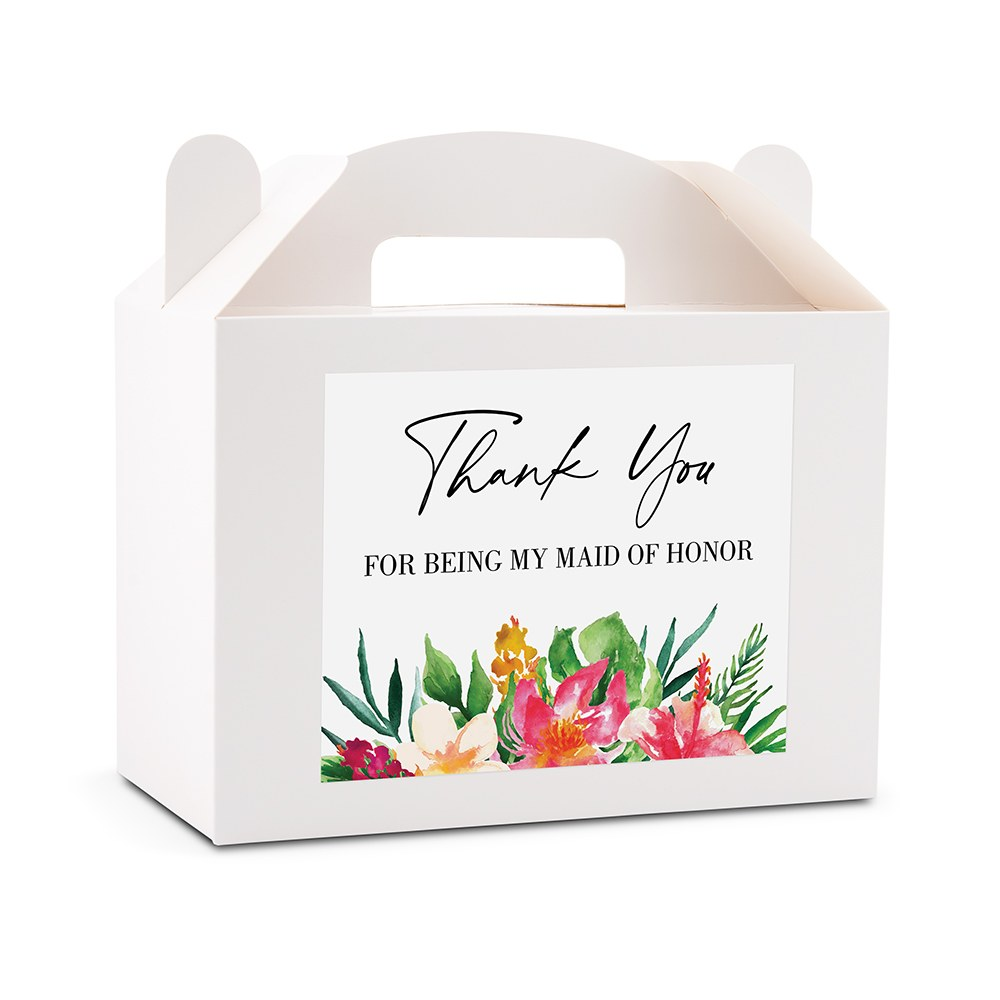 Personalized White Rectangle Paper Gift Box with Handle - Tropical Floral