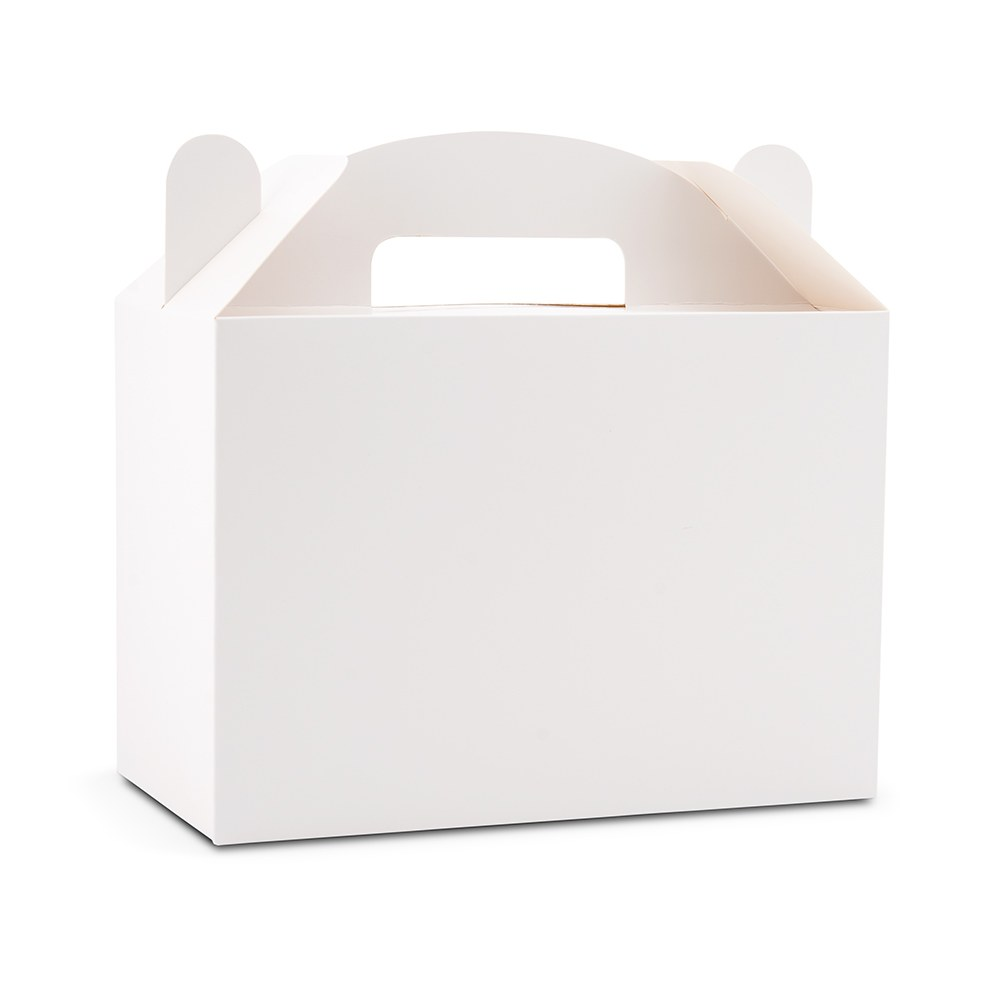 White Rectangle Paper Gift Box with Handle