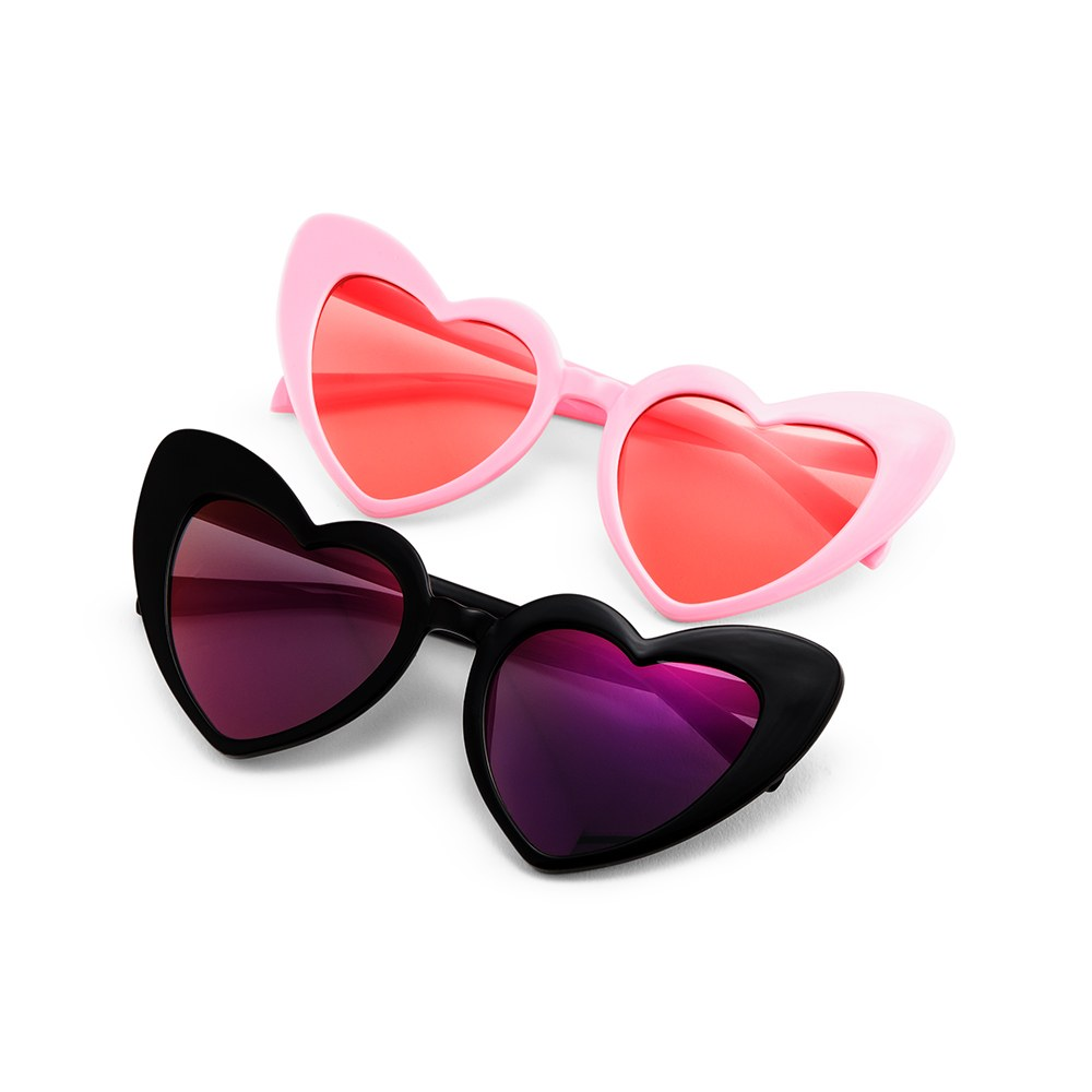 Women's Unique Shaped Bachelorette Party Sunglasses - Black Heart Eyes