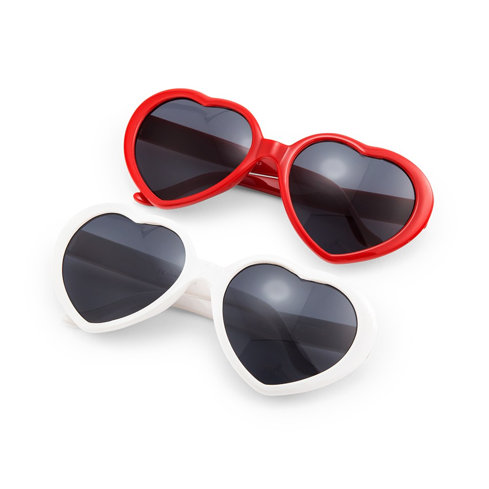 Women's Unique Shaped Bachelorette Party Sunglasses - White Hearts