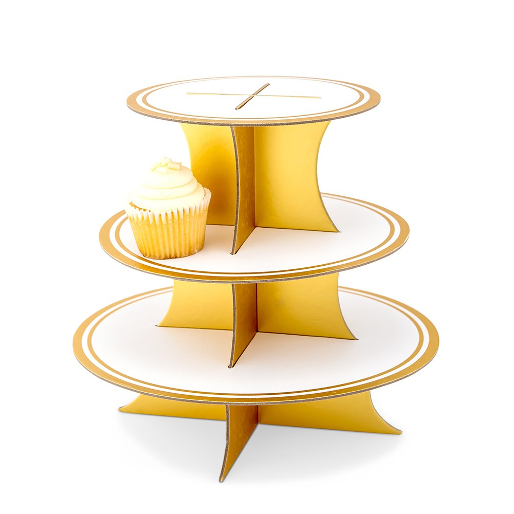 3 Tier Cardboard Cupcake Display Stand - White & Gold