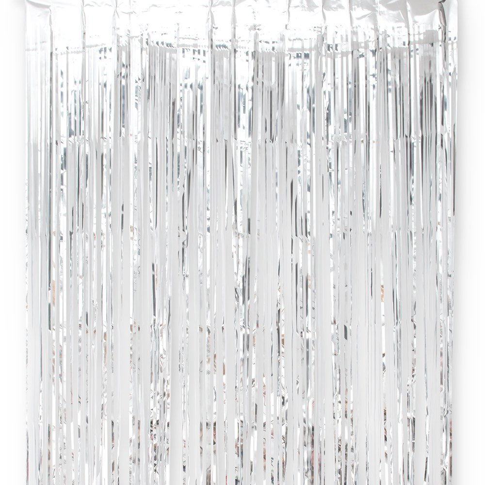 Metallic Foil Fringe Curtain Photo Backdrop - Silver
