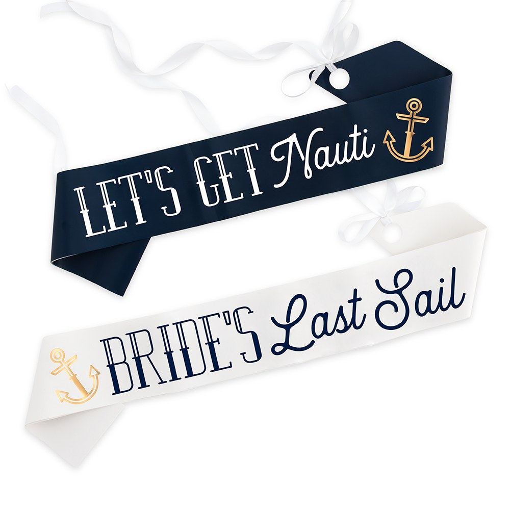 Paper Bachelorette Party Sash - Nautical