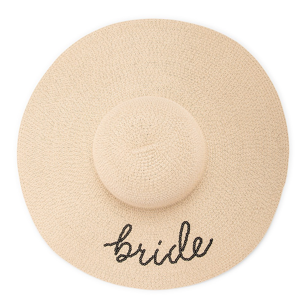 Women's Floppy Straw Sun Hat - Bride