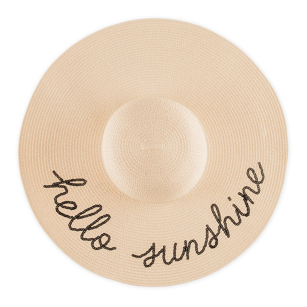 Women's Floppy Straw Sun Hat - Hello Sunshine