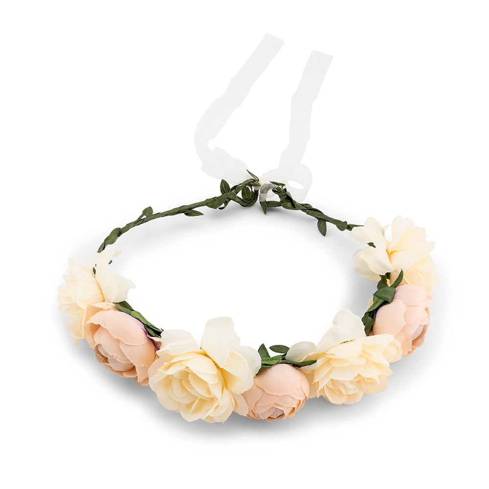 Bridal Party Flower Crown Wreath - Ivory Rose Medley