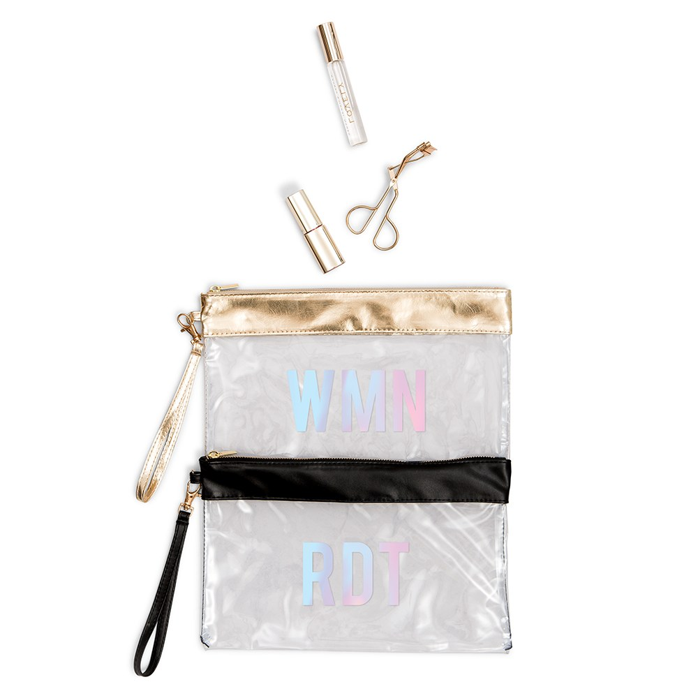 Personalized Large Clear Plastic Makeup Bag - Block Monogram
