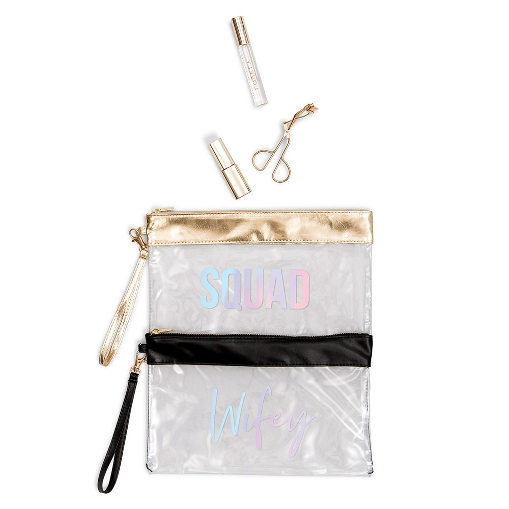 Large Clear Plastic Makeup Bag - Squad