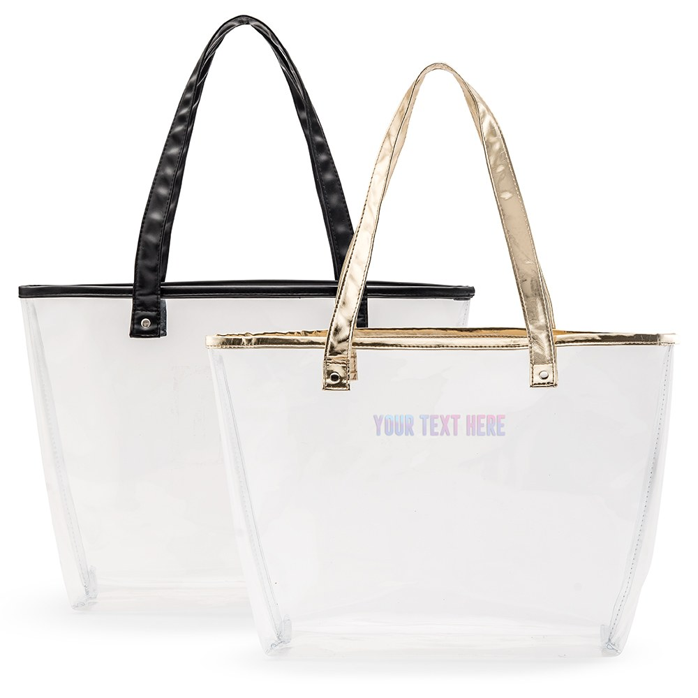 Personalized Clear Plastic Stadium Tote Bag - Custom Text