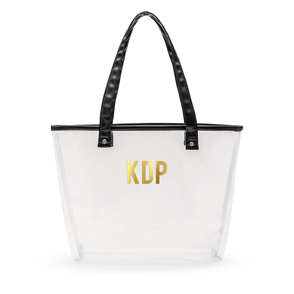 Personalized Clear Plastic Stadium Tote Bag - Block Monogram