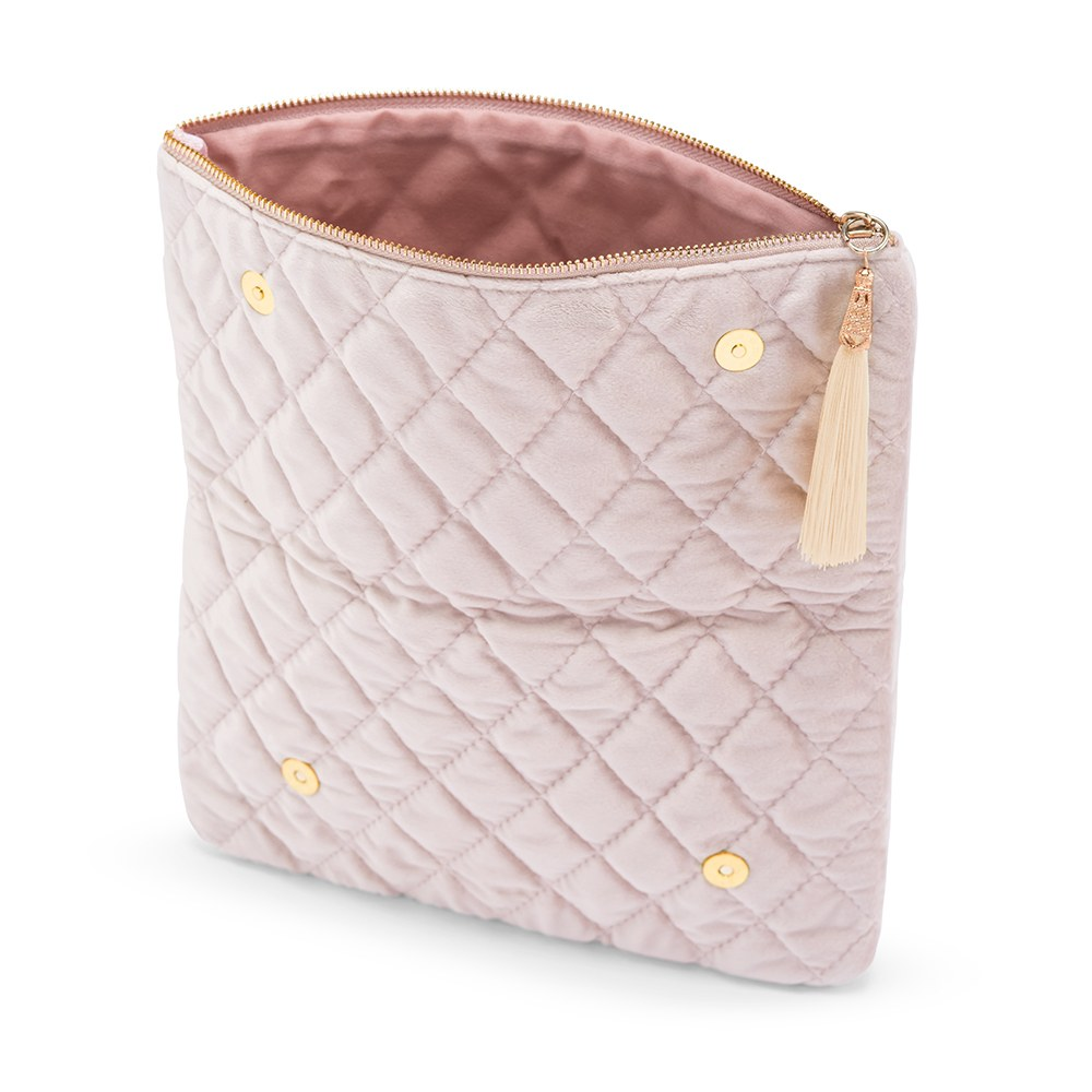 Personalized Fold Over Velvet Clutch - Blush Pink