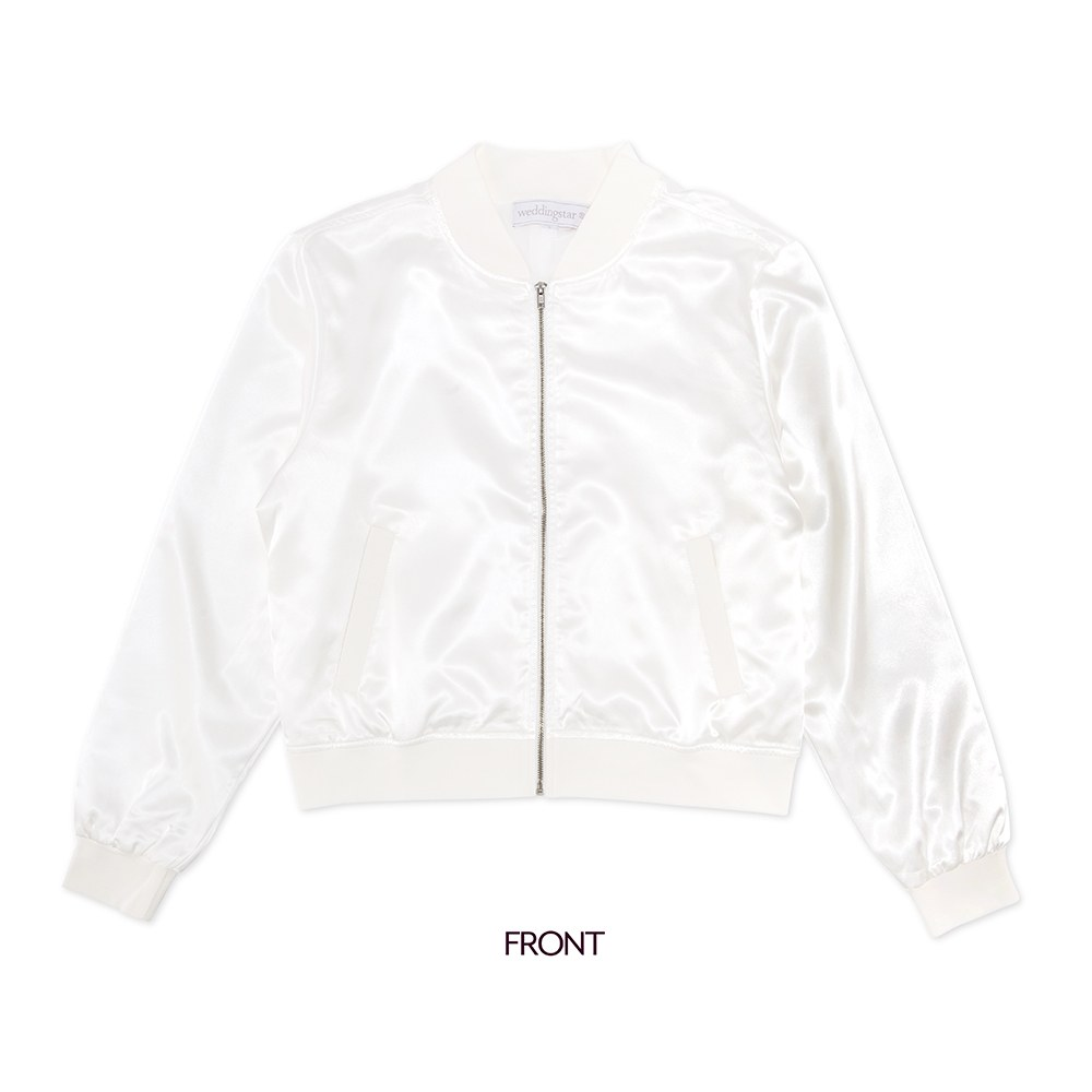 Women's Custom Printed Satin Bomber Jacket - White