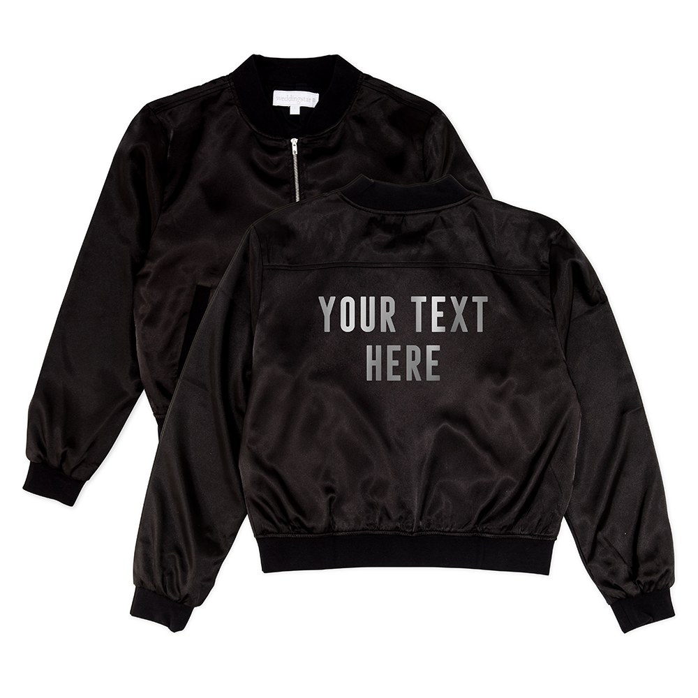Women's Custom Printed Satin Bomber Jacket - Black