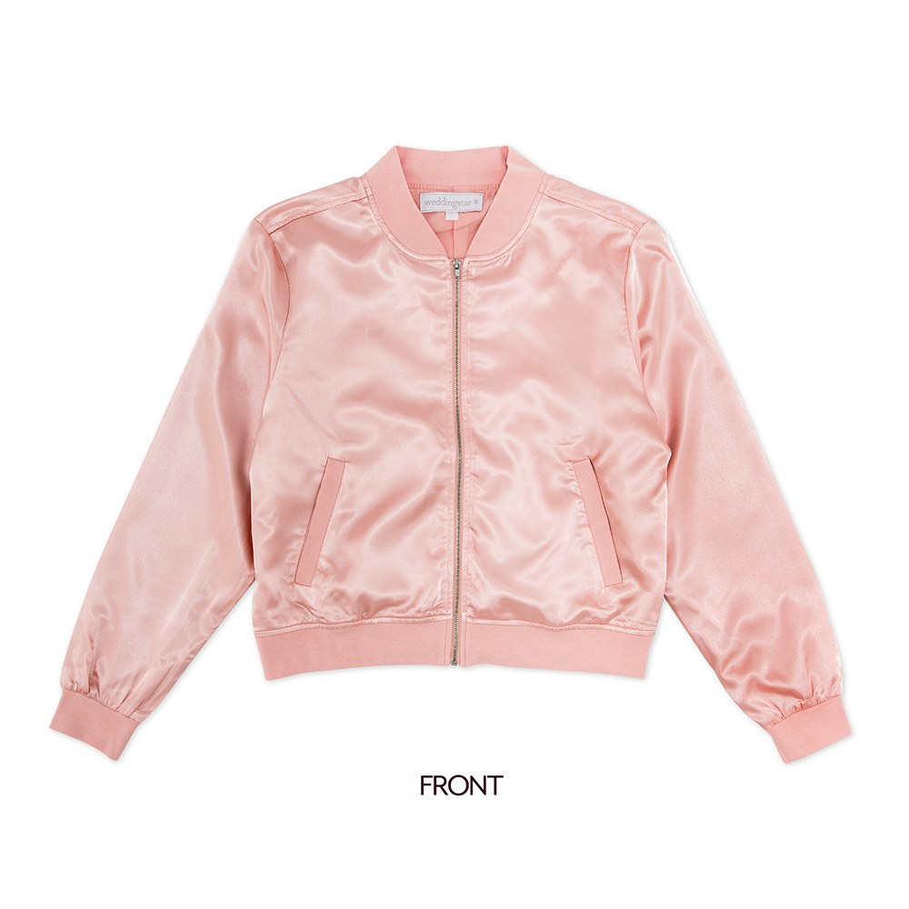 Women's Custom Printed Satin Bomber Jacket - Light Pink
