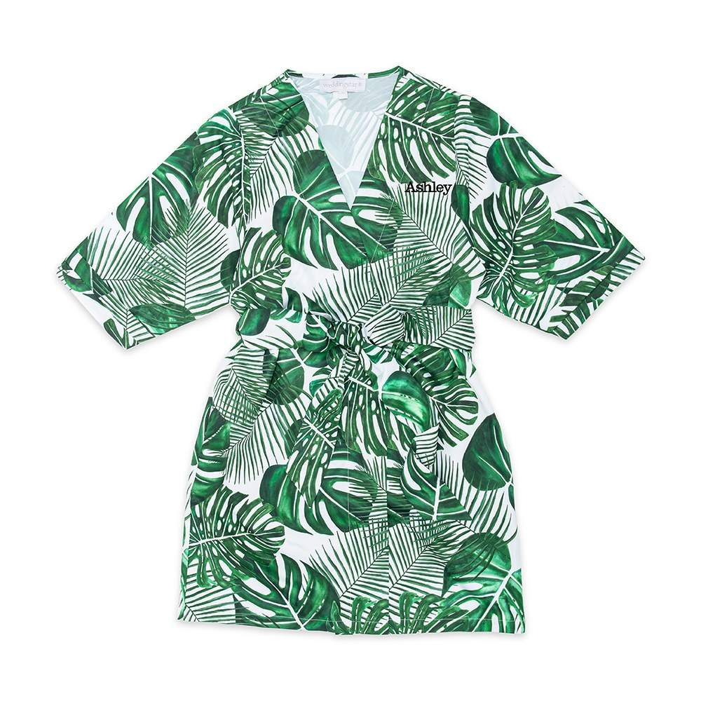 Women's Personalized Embroidered Tropical Satin Robe with Pockets - Monstera Leaf