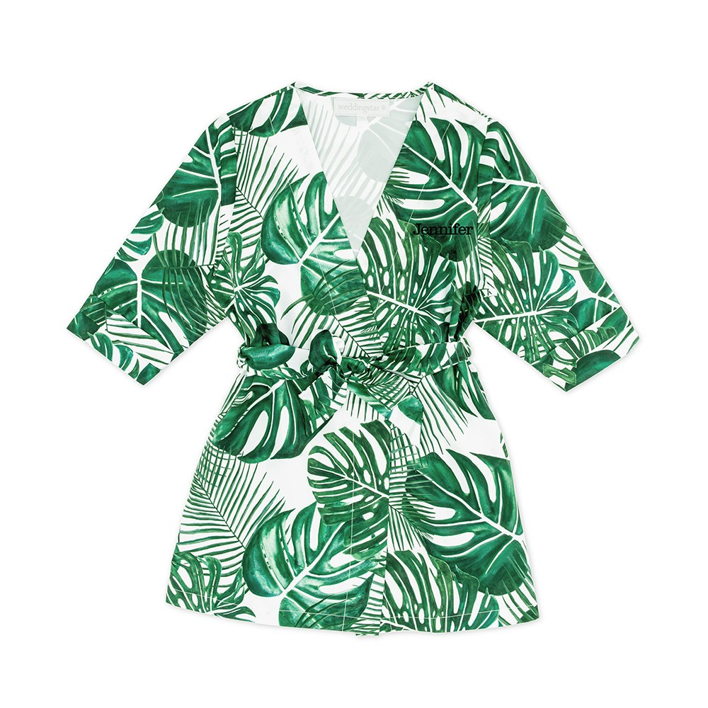 Personalized Embroidered Flower Girl Tropical Satin Robe with Pockets - Monstera Leaf